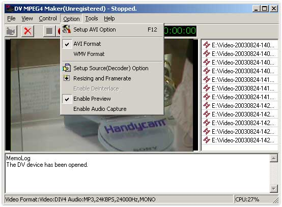 Click to view DV MPEG4 Maker 2.6.0 screenshot